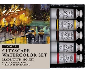 M. GRAHAM 5PK SET: CITYSCAPE WATERCLOUR