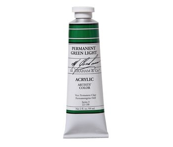 M. GRAHAM ARTISTS ACRYLIC 2OZ PERMANENT GREEN LIGHT