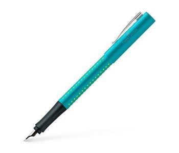 FABER CASTELL GRIP 2011 FOUNTAIN PEN TURQUOISE EXTRA FINE TIP WITH CONVERTER