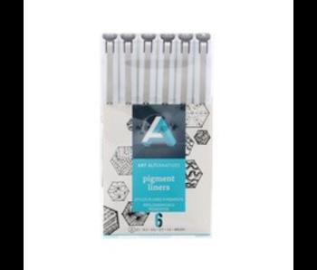 PIGMENT LINER BLK 6PC W/BRUSH Pen