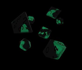 OAKIE DOAKIE DICE RPG GLOW IN THE DARK: BIOHAZARD 7PC SET