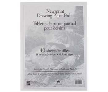 WHITE NEWSPRINT PAPER PAD 18x24 40 SHEETS