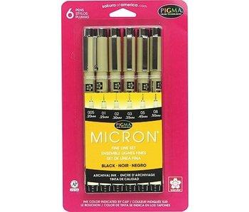 MICRON 6 PEN SET BLACK