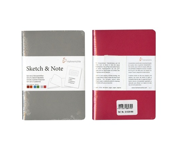 Hahnemuhle Sketch & Note Booklets 125gsm 20 sh/40 pg Book - Grey/Pink<br /> 8.27 × 11.69 A4