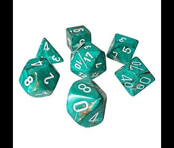 Chessex Dice Marble 7 Piece Oxi-Copper/White
