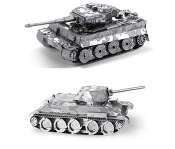 METAL EARTH 3D MODEL SILVER: T-34 TANK