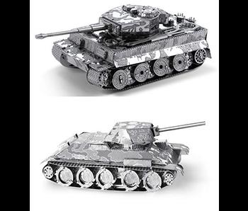 METAL EARTH 3D MODEL SILVER: T-34 TANK