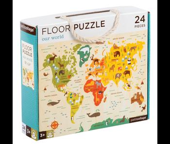 PETITCOLLAGE 24PC FLOOR PUZZLE: OUR WORLD