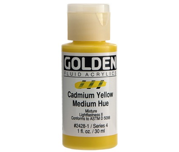 Golden 1Oz Fluid Cadmium Yellow Medium Hue Series 4 Artist Acrylic Paint