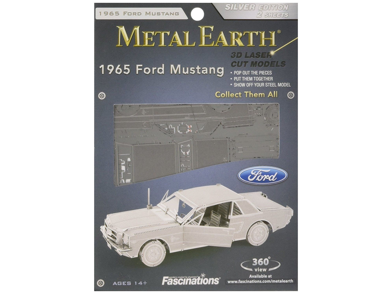 THINKPLAY METAL EARTH 3D MODEL SILVER: 1965 FORD MUSTANG