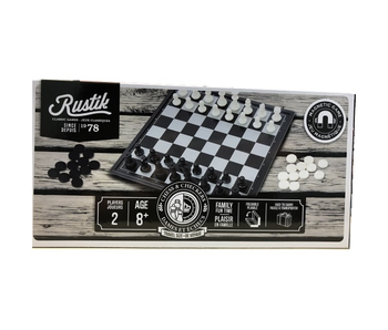 RUSTIK CHESS & CHECKERS 2 IN 1 TRAVEL BOARDGAME