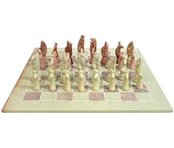 MOJA SOAPSTONE CHESS SET - ANIMAL KINGDOM