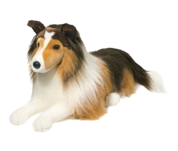 DOUGLAS CUDDLE TOY PLUSH LASSIE LARGE, LYING DOWN DOG