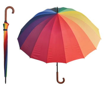 Adult Umbrella Rainbow With Wooden Handle