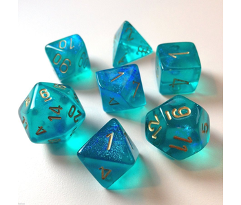 CHESSEX - 7 DIE SET - BOREALIS - TEAL/GOLD WRITING
