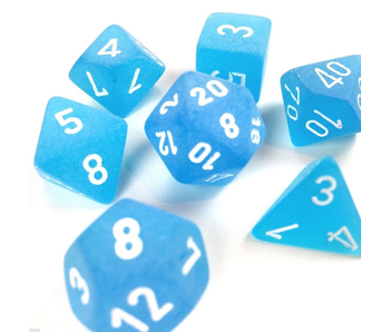 CHESSEX - 7 DIE SET - FROSTED - CARIBBEAN BLUE/WHITE WRITING