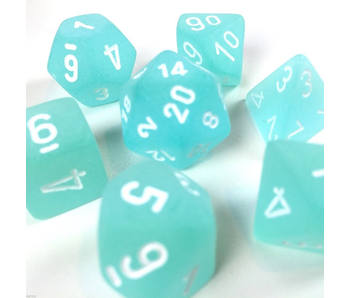 CHESSEX - 7 DIE SET - FROSTED - TEAL/WHITE WRITING