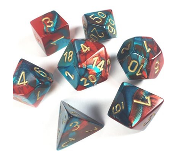 CHESSEX - 7 DIE SET - GEMINI - RED-TEAL/GOLD WRITING