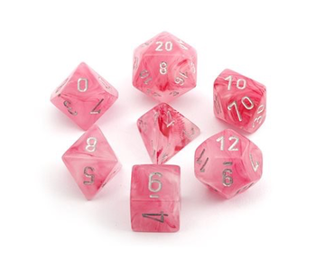CHESSEX - 7 DIE SET - GHOSTLY GLOW - PINK/SILVER WRITING