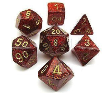 CHESSEX - 7 DIE SET - GLITTER - RUBY RED/GOLD WRITING