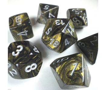 CHESSEX - 7 DIE SET - LEAF - BLACK GOLD/SILVER WRITING