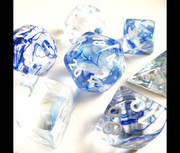 CHESSEX - 7 DIE SET - NEBULA - DARK BLUE/WHITE WRITING