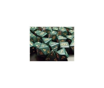 CHESSEX - 7 DIE SET - OPAQUE - DUSTY GREEN/COPPER WRITING