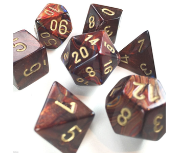 CHESSEX - 7 DIE SET - SCARAB - BLUE BLOOD/GOLD WRITING