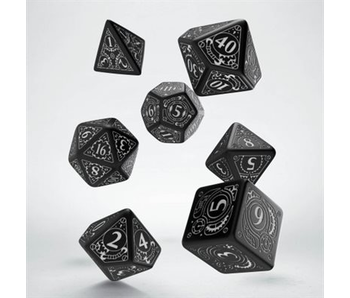 Steampunk Dice Black and White 7Pc