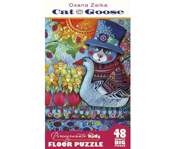 POMEGRANATE KIDS 2X3 FEET 48 REALLY BIG PIECES FLOOR PUZZLE: CAT WITH GOOSE