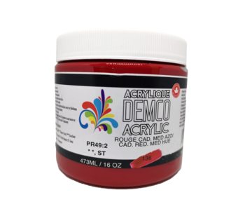 Demco 16OZ 473ML Acrylic Cadmium Red Medium Hue