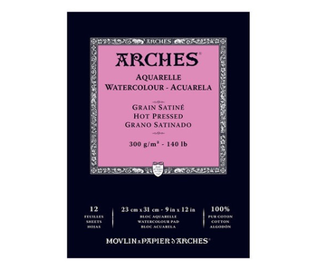 ARCHES WATERCOLOUR 12 Sheet PAD 9x12 HP HOT PRESS 140LB