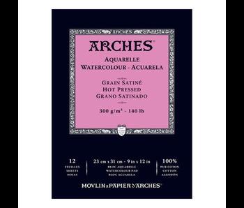 ARCHES WATERCOLOUR PAD 9x12 HP HOT PRESS 140LB 12PK