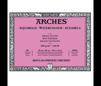 ARCHES WATERCOLOUR 20 SHEET BLOCK HOT PRESS HP 140LB 10X14 -