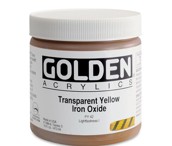 Golden 16Oz Transparent Yellow Iron Oxide Series 3 Heavy Body Artist Acrylic Paint HB