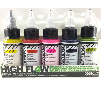 Golden High Flow Acrylic Marker Set 5Pk W/ 3 Markers
