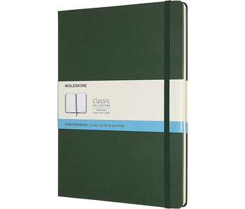 MOLESKINE CLASSIC COLLECTION HARD COVER DOTTED NOTEBOOK GREEN 7.5X9.75