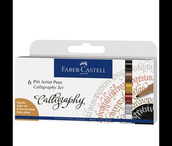 Faber Castell 6 Pitt Artist Pen India Ink Calligaphy Set