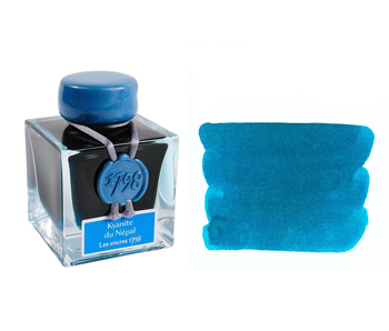 J HERBIN INK BOTTLE 1798 KYANITE DU NEPAL/TURQUOISE WITH SILVER