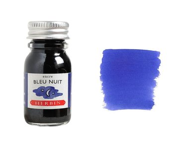 J. HERBIN FOUNTAIN PEN INK 10ML BLEU NUIT/NIGHT BLUE