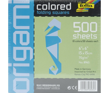 FOLIA ORIGAMI FOLDING SQUARES COLORED 500PK