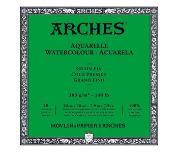Arches Watercolour 20 Sheet Block Cold Pressed 140LB 7.9X7.9 20 sheets -