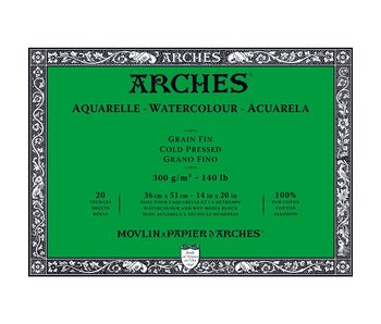 Arches Watercolour 20 Sheet Block Cold Pressed 140LB 14X20 20 Sheets -