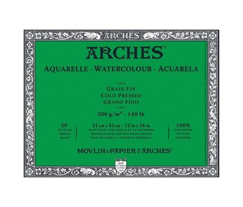 Arches Watercolour 10 Sheet Block Cold Pressed 300LB 12X16 10 sheets -