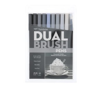 Tombow Dual Brush Pens 10 Pack Grayscale Palette