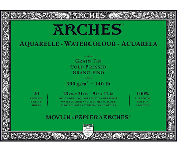 ARCHES WATERCOLOUR 20 Sheet BLOCK COLD PRESS CP 140LB 9x12 -
