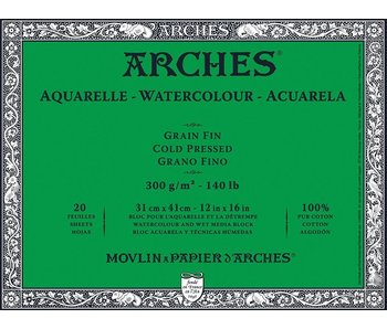 ARCHES WATERCOLOUR 20 Sheet BLOCK COLD PRESS CP 140LB 12X16 -