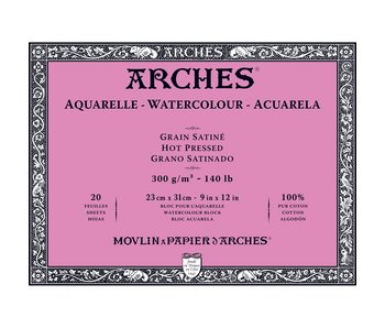 ARCHES WATERCOLOUR 20 Sheet BLOCK HOT PRESS HP 140LB 9x12 -