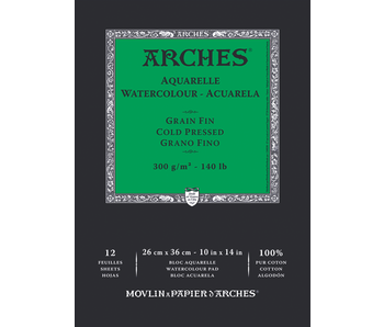 ARCHES WATERCOLOUR 12 Sheet PAD 10x14 Cold Press 140LB 12PK