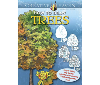 CREATIVE HAVEN COLORING BOOK HOW TO DRAW TREES